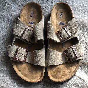 Birkenstock Arizona Taupe Suede Sandals 38 Narrow